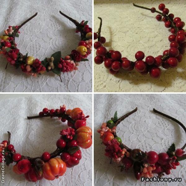 Ободок с цветами и ягодами своими руками