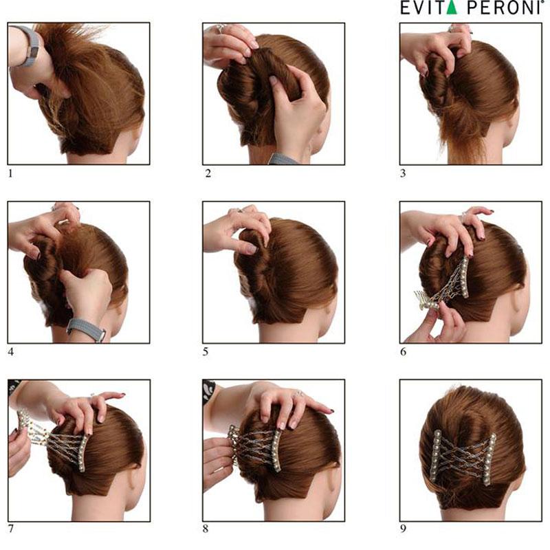 прически с заколками и резинками на средние волосы